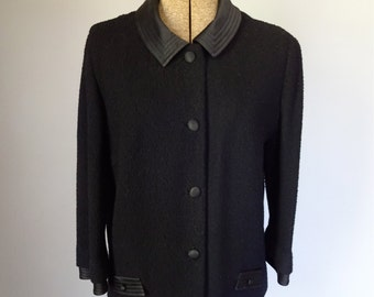 1960s Mod Wool Butte Knit Jacket Satin Trim Black Boucle Mid Century Women's Clothing