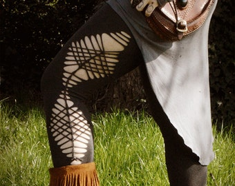Braided cut out festival leggings. Intricate geometric design, weaved, pixie, hippie. Choice of colours