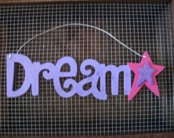 Dream and Star Wall Hanging Sign Plaque Purple