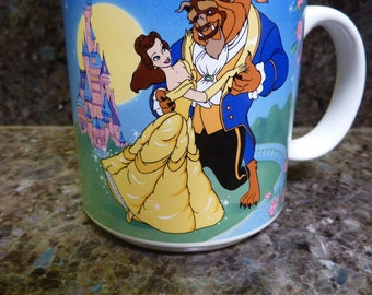 DISNEY Beauty And The Beast Belle Dance Retired Blue Pink Coffee Mug In Box