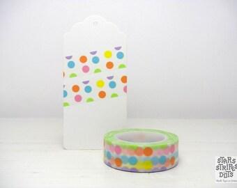 Washi Tape multicolored polka dots, size: 15 mm x 10 m