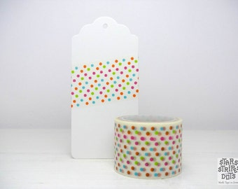 Wide Washi Tape multicolored polka dots, size: 3 cm wide x 5 m long