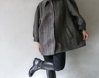80s vintage woman coat / grey brown jacket short coat / Llama wool  oversize trapeze coat/ car coat/ L large