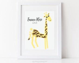 Giraffe Nursery Art Print, Baby Footprint Safari Wall Decor, Yellow Room, Personalized Animal, Your Child's Foot Prints, 5x7, 8x10, 11x14