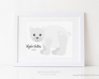 Polar Bear Baby Footprint Art Print, Arctic Animal Monochrome Nursery Decor, Personalized with Your Child's Feet, UNFRAMED