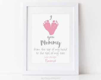 Personalized Mother's Day Gift for New Mom, I Love you Mommy Baby footprint Art, Gift for Grandmother, Gift for New Grandma, 8x10 Art Print