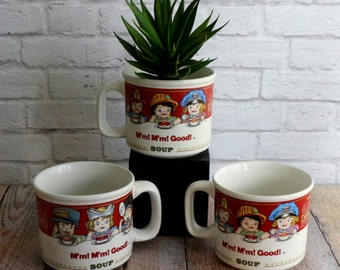 Campbells Soup Mugs, Soup Bowls, Campbells Collectibles, LargeMugs, Campbells Kids, M'm! M'm! Good