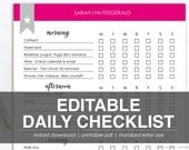 EDITABLE DAILY CHECKLIST | Printable Task List | Instant Download by DayPlanned.com