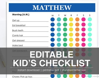 KID'S CHECKLIST (2 Colors) | Hot Pink + Navy | Printable Task List | Instant Download by DayPlanned.com