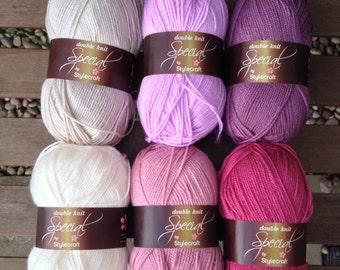 Crochet blanket kit DK 'Grape Crush' - pink and lilac granny stripe - various sizes