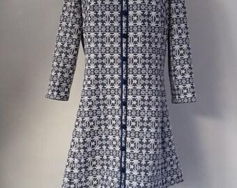 Vintage Leslie Pomer Dress - 1960s blue and white mod dress | vintage 60s dress | vintage day dress | medium | The Valerie Dress