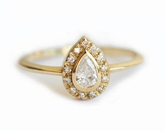 Halo Engagement Ring, Pear Diamond Ring, Diamond Wedding Ring, Diamond Halo Ring, Dainty Diamond Ring, Diamond Engagement Ring