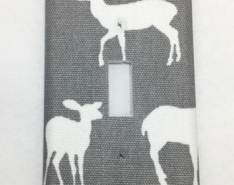 Woodland Deer Light Switch Plate Cover / Outlet Cover / Bedroom / Home Decor / Housewarming Gift / Nursery Decor / Kid's Room / Grey White