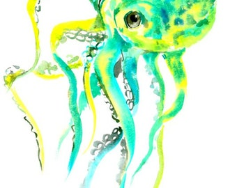 Octopus turquoise yellow green bright green wall art original painting 12 x 9 in