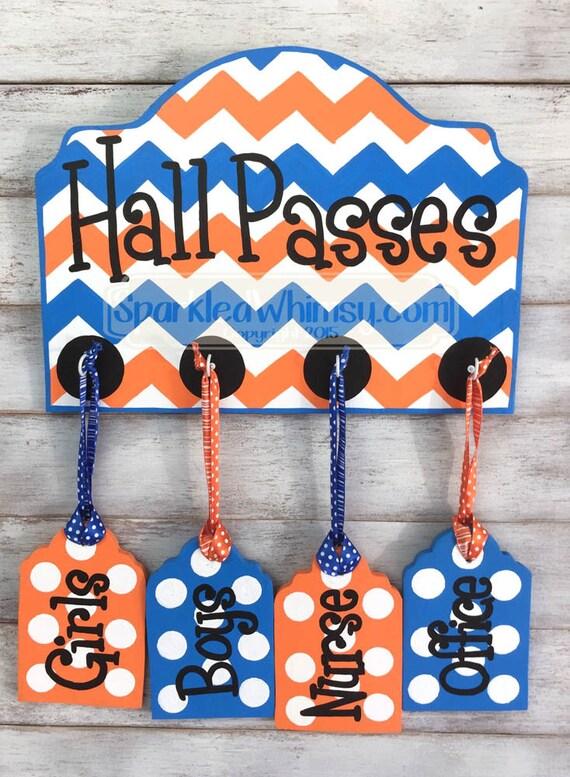 Orange Classroom Decor ~ Hall passes sign for classroom decor teacher gift