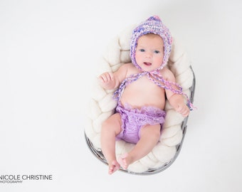 Pink and Purple Handspun Pixie Gnome Bonnet  Baby Hat Newborn Elf  Knitted Photography Prop