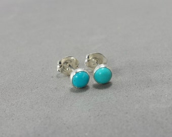 Tiny Turquoise Stud Earrings, Small Silver Post Earrings, December Birthstone, Girls Earrings, Blue Turquoise Earrings, 4mm Stone Earrings