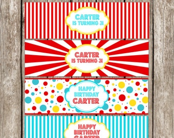 Vintage Carnival Water Bottle Labels - Red & Blue - Carnival Circus Birthday Party - Printable