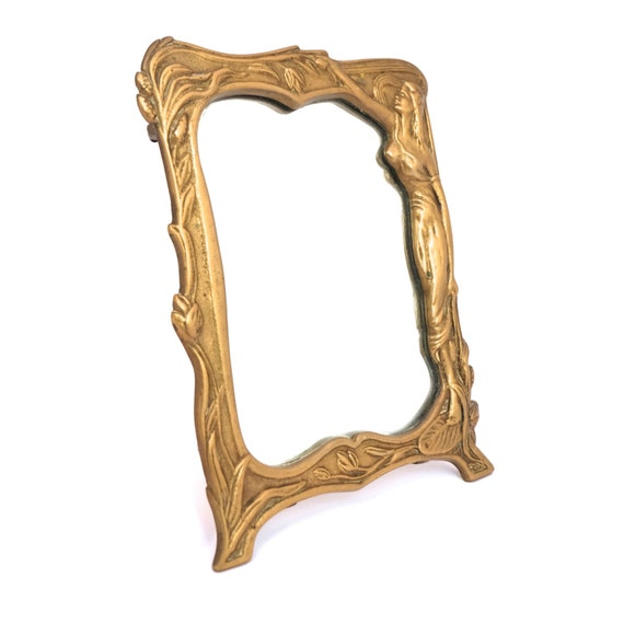 Vintage brass free standing mirror ornate gold by for Gold stand up mirror
