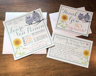 Rustic Owl & Sunflower Theme | Custom Stationery Package for Wedding, Bridal Shower, Save The Date | Invitation, Thank You, Wishing Well