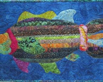 Fish Tails  - Original Design Fish Art Quilt, fiber art, wall quilt, art, underwater, fish, batik, quilt