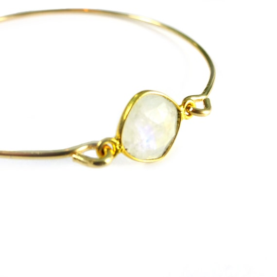 Gold Moonstone Bangle Bracelet