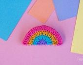 Crocheted Rainbow Brooch