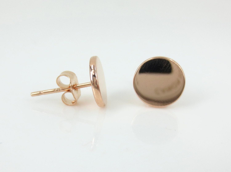 14k Rose Gold Small Disc Stud Earrings