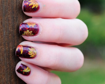 Fall Leaves Hand Painted Fake Nails