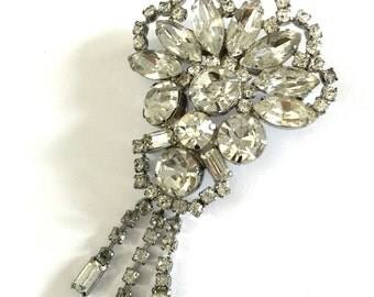 Art Deco Clear Rhinestone Brooch, Dangle Brooch, Gently Domed Floral Design, Wedding Jewelry, Vintage Bridal, Special Occasion, Prom Jewelry