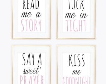 read me a story tuck me in tight nursery prints baby girl nursery decor little girl nursery art pink nursery prints printable nursery art