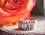 Dainty Mantra Ring.Yoga Jewelry. thin ring.. Bere her now, breathe, love, namaste.