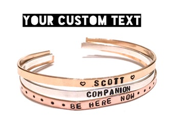 Custom Hand Stamped Jewelry. Thin Cuff Bracelet. Yoga Jewelry. Custom Jewelry. Mantra Bracelet.Personalize Engraved Cuff