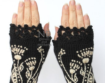 Knitted Fingerless Gloves, Ornament, Black, Ivory, Gloves & Mittens, Gift Ideas, For Her, Winter Accessories,
