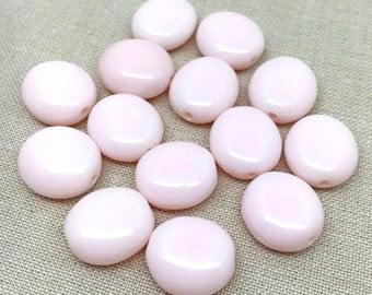25 Vintage Light Pink Czech Glass Beads 14mm