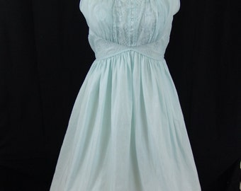 Vintage 1950s night gown - Power Blue