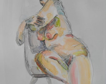 Original figure study, pen and ink, watercolour washes on paper, from live female model, 11 X 14, Figure 65