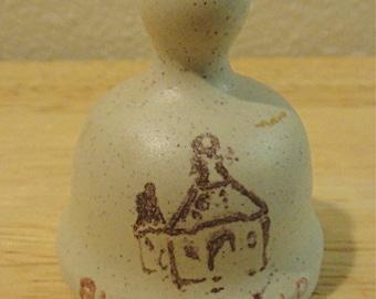 Vintage Miniature Souvenir Bell ALBEROBELLO Italy - Trulli Buildings - Ceramic / Stoneware (1210)