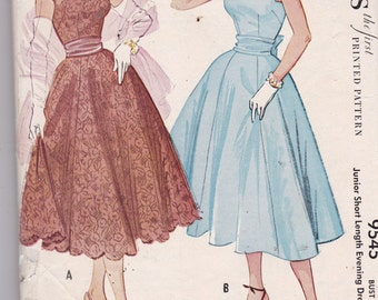 McCalls 9545 Vintage Sewing Pattern Very Rare 1950s  Evening Dress -Scalloped Strapless Dress Skirt with Cummerbund and Bow Size 11 Bust 29