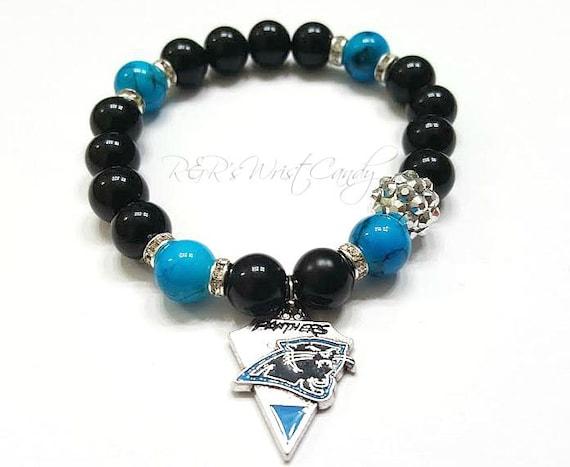 carolina panthers bracelet beaded braceletfootball bracelet. Black Bedroom Furniture Sets. Home Design Ideas