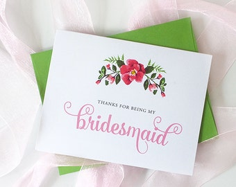 Set of Thank You For Being My Bridesmaid Cards - To My Maid Of Honor, Flower Girl, Matron of Honor - PINK verison, THANKS