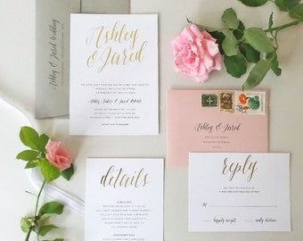 Calligraphy Script Wedding Invitation - Rustic, Modern, Simple, Twine - Gold, Copper, Silver Foil - Eloquent Romance Plus SAMPLE