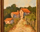 Old Village Street, Italy original oil painting landscape 9x12 framed