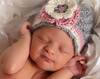 Baby Girl Crochet Hat, Pink and Gray