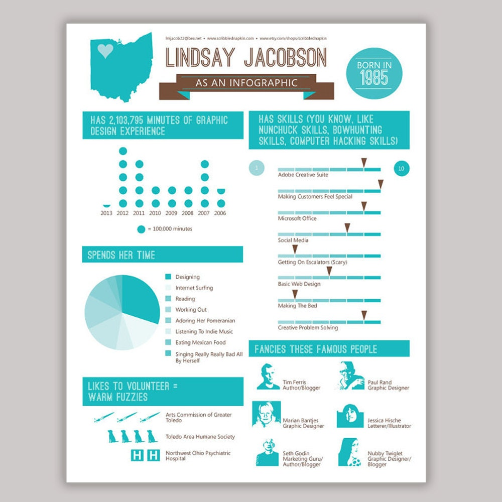 infographic resume design custom colors available set