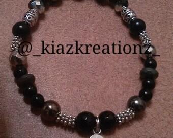 Black & Grey Beaded Bracelet with Hamsa Charm