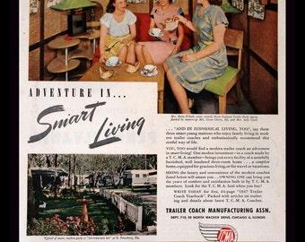 1947 Trailer Home Ad - Wall Art - Home Decor - Mobile - Trailer Coach Manufacturing Assn - Trailer Park - Retro Vintage Travel Advertising
