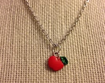 "16"" Silver Red Apple Necklace"