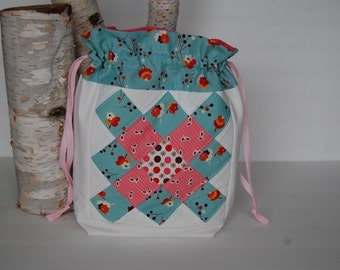 Medium  Patchwork Drawstring - Pink