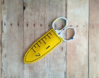 Mini Scissor Cover, Yellow or Black Vinyl with Embroidered Ruler Design, Protect Scissors and Keep Blade Hidden, Hand Cut, Made in USA